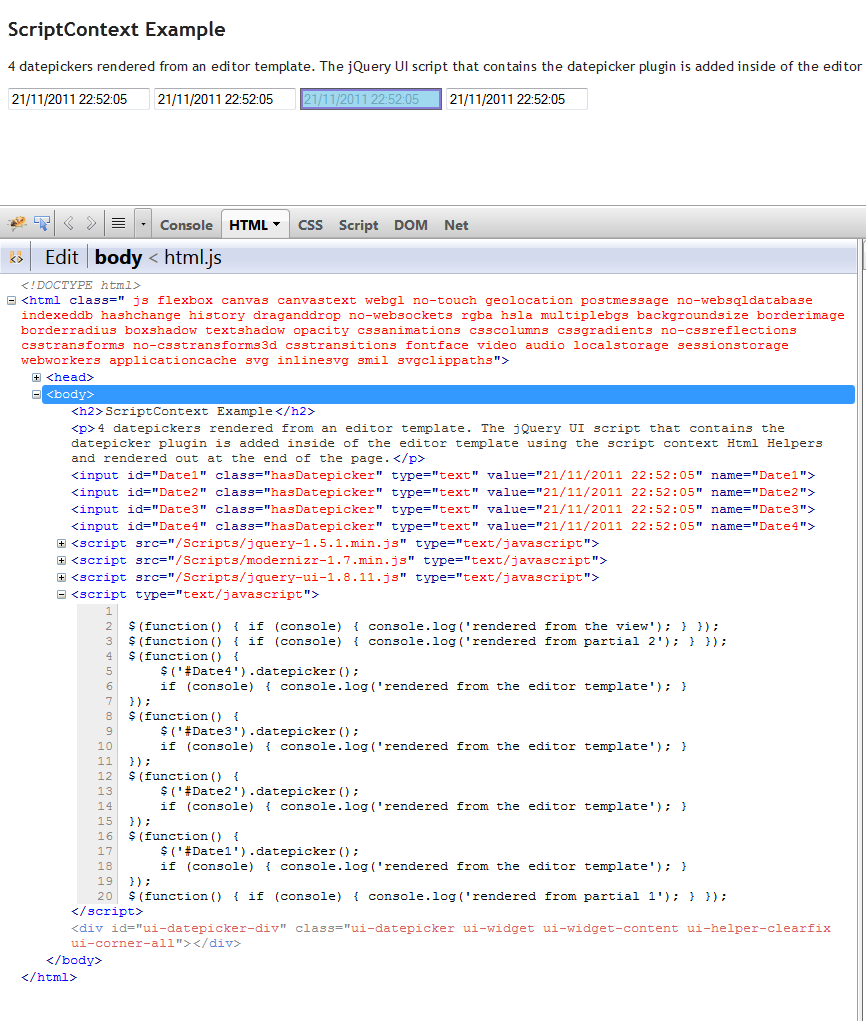 Managing scripts for razor partial views and templates in asp mvc html markup seen with firebug maxwellsz